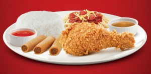Meal A Jollibee chickenjoy and spaghetti shanghai